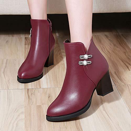 Vino Botas ALIKEEY Cuero De Botas Casuales Tacon De Martin Rhinestone Las De Botas con Alto Mujeres Cremallera Zapatos 7p7wHUxTn