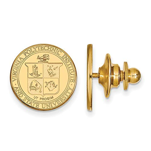 Roy Rose Jewelry Sterling Silver with 14K Yellow Gold-Plated LogoArt Virginia Tech Crest Lapel Pin
