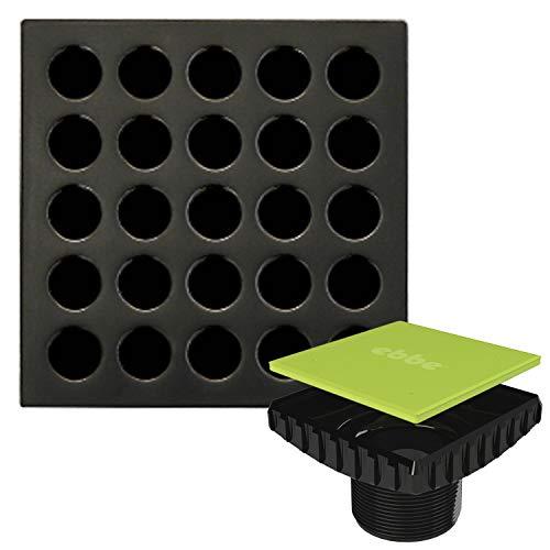 Ebbe E4407 Square Shower Drain Grate, Oil Rubbed Bronze + Ebbe E4400 Drain Riser Black Bundle