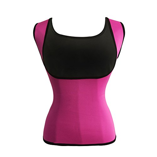 Women's Hot Sweat Slimming Neoprene Shirt Vest Body Shapers for Weight Loss Fat Burner Tank Top (Small, Pink)