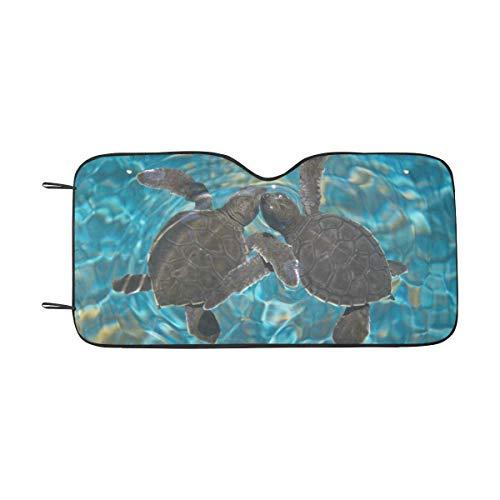 INTERESTPRINT Auto Sun Shade for Windshield Foldable Sea Turtles Design Car Sunshade Blocks UV Rays Sun Visor Protector ()