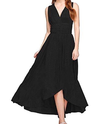 Dress Tunic Neck Racerback Long Coolred Maxi Beach V Women Party Fashion Black Cx5vwfU