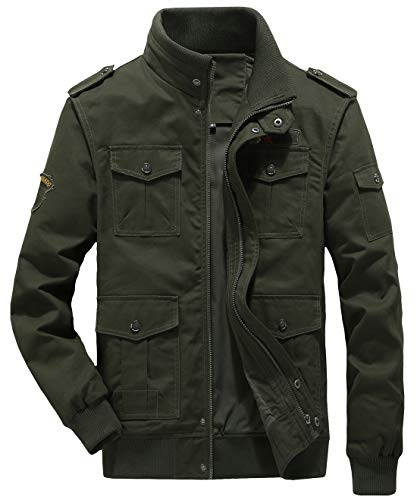 chouyatou Men's Casual Long Sleeve Full Zip Jacket with Shoulder Straps