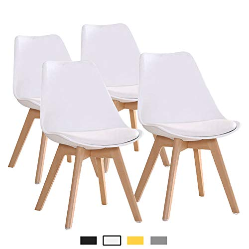 YEEFY Dining Chairs Side Chair DSW Dining Chair Walnut Legs, Set of 4(White) (Loveseat Dining)