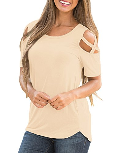 Lookbook Store Women's Champagne Casual Crisscross Cold Shoulder Short Sleeve Basic T-Shirt Blouse Tops Size Small (US 4-6)