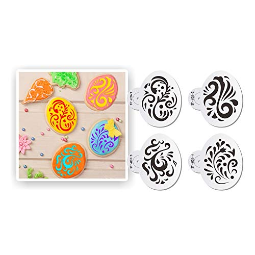 ART KITCHENWARE Easter Egg Cookie Stencils Plastic Stencils for Painting Airbrush Stencils Cake Decorations 4pcs (ST-4126)
