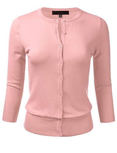 FLORIA Women's Button Down 3/4 Sleeve Crew Neck Knit Cardigan Sweater PEACHBEIGE M ()