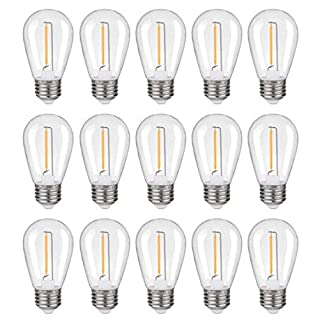 LED S14 Replacement Bulbs, Shatterproof Plastic LED Filament Bulb, 1W=10W, Fits for Outdoor String Lights/Patio Lights, Warm White 2200K, Not Dimmable, E26 Standard Screw Base (S14-15 Pack)