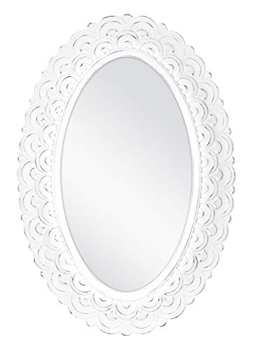 (MCS Scalloped Province Oval Wall Mirror, 19x28 Inch Overall Size, Antique White (68870))