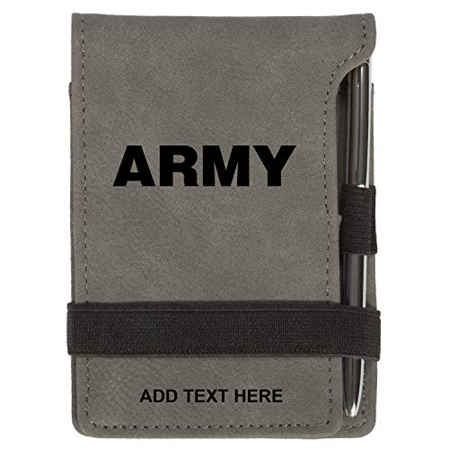 Personalized Army Military Text Mini Notepad Holder Set for Business Professionals - Pocket Memo Pad Book Cover - Includes Mini Note Pad and Pen to Jot Notes and Writing To Do List, Gray