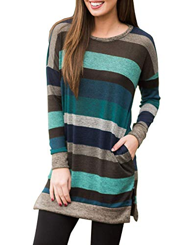(Miskely Women's Long Sleeve Striped Tunic Tops for Leggings Casual Swing Tunic Dress with Pockets Shirt (Medium, Multicolor-07 Blue Blouse))