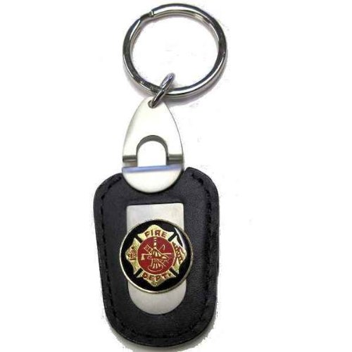 FireFighter Fireman Key Chain Deluxe Key Holder Leather & Gold Sterling Gifts