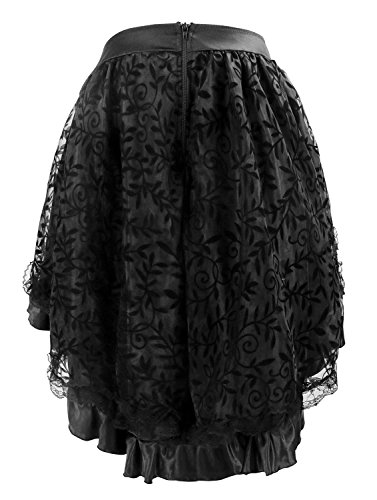 Charmian Women's Steampunk Retro Gothic Vintage Satin High Low Skirt with Zipper 5