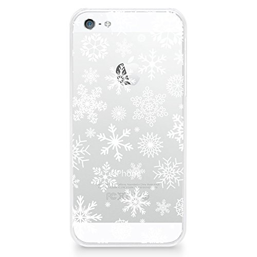Case for iPhone SE, iPhone 5/5s, CasesByLorraine Christmas Snowflakes Case XMAS Holiday Matte Transparent Case Plastic Hard Cover for iPhone SE & iPhone 5/5s (P65)