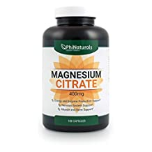 Magnesium Citrate 400mg 180 Capsules by Phi Naturals