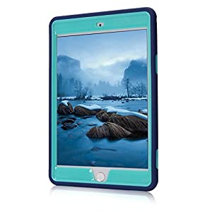 iPad mini 4 Case, iPad A1538/A1550 Case, Hocase Rugged Shockproof Anti-Slip Hybrid Hard Shell+Silicone Rubber Bumper Protective Case for Apple iPad mini 4th Generation 2015 - Navy Blue / Mint Green