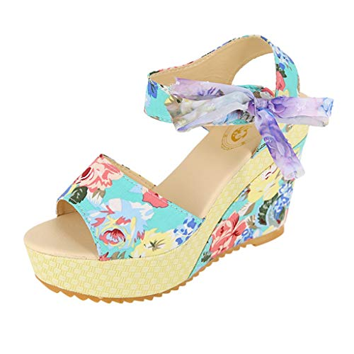 ◕‿◕Water◕‿◕ Women's Wedge Sandal,Summer Floral Print Wedges Casual Sandals Lace Up Sandals Peep Toe Ankle Buckle Strap Blue