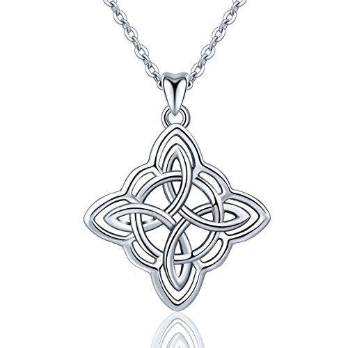 INFUSEU Irish Celtic Knot Pendant Necklace 925 Sterling Silver Jewelry for Women (Cross Infinity Knot) ()