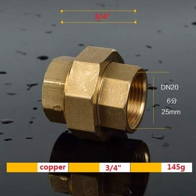 Kammas 1Piece Brass Pipe Union Connector Coupling Copper Double Ness Joint Female Thread Plumbing Fittings 1/2
