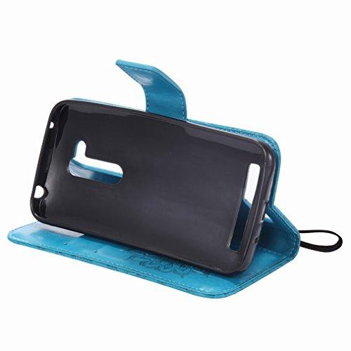 Yiizy Asus Zenfone Go ZB452KG Custodia Cover, Sole Petali Design Sottile Flip Portafoglio PU Pelle Cuoio Copertura Shell Case Slot Schede Cavalletto Stile Libro Bumper Protettivo Borsa (Blu)