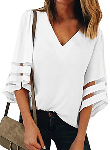 Towonder Womens 3/4 Bell Sleeve Deep V Neck Lace Patchwork Blouse Summer Chiffon Casual Loose Fit Shirt Flare Sleeve Tops (White, (US 12-14) Large)