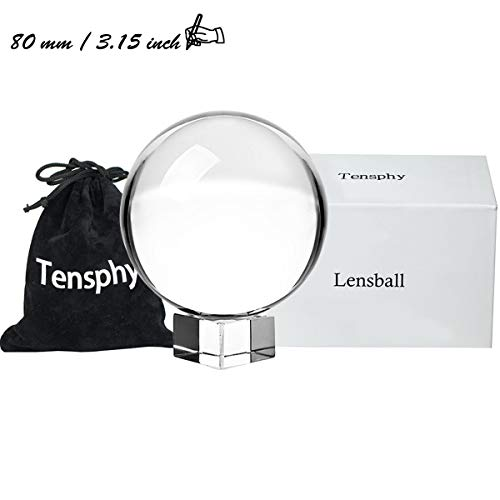 Tensphy 80 mm Photography Lensball Pro K9 Crystal Ball with Stand Clear Art Decor Glass Photo Sphere Ball for Photography Accessories Props