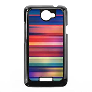 HTC One X Cell Phone Case Black Colorful Stripes MGZ Hard Phone Case Sports