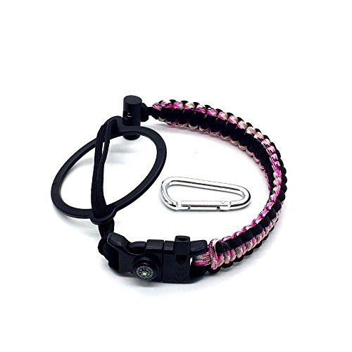 Paracord Handle with Carabiner,Sports Bottle Strap for Hydro Flask Wide Mouth,Inculde Survival Buckle with Knife,Compass,Fire Starter,Whistle (Pink/black-3pcs set) by Evursua (Image #1)