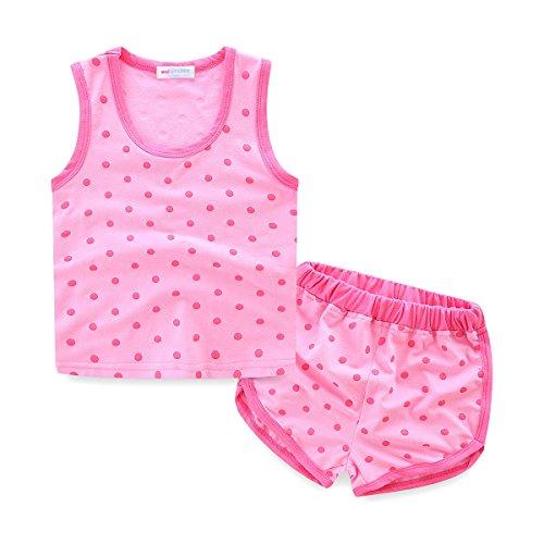 Mud Kingdom Toddler Girls Outfits Polka Dot Tank Top and Short Summer 2T Hot Pink