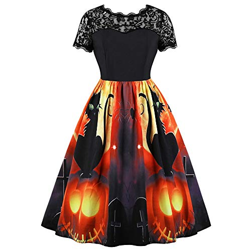 EbuyChX Halloween Cat and Pumpkin Lantern Print Vintage Dress Black S -