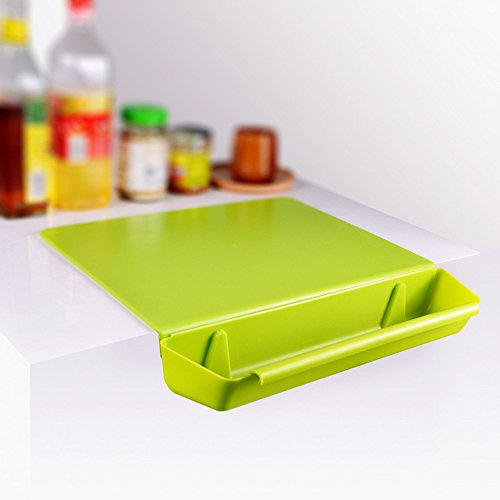 - Chopping Board Kitchen Cutting Board With Storage Groove Non-Slip For Meat,Vegetable,Cheese,Crackers(Green)