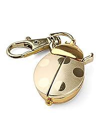 Gold Quartz Analog Keychain Key Ring Watch Pendant Golden Ladybug Lady Bug Pocket Watch