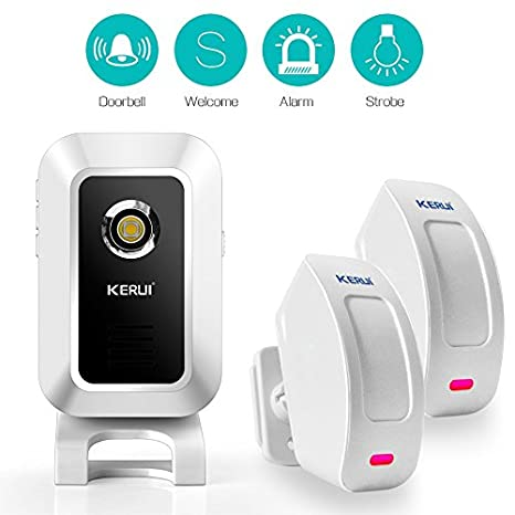 KERUI inalámbrico Monitor Sensor Detector entrada timbre de alarma timbre 32 Música – Detector Movimiento PIR
