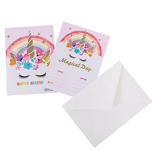 Funnlot Unicorn Invitations for Rainbow Unicorn Party Birthday Party Supply Decoration Double Sided Gold Glitter 5''x 7'' with 20 Invitations and 20 A7 Envelopes