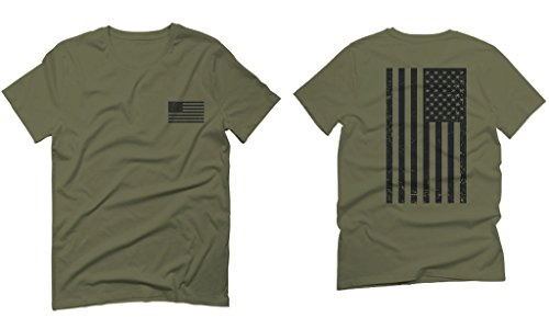 Vintage american flag united states of america military army marine us navy For men T Shirt (Olive Green, (Boyfriend Green T-shirt)