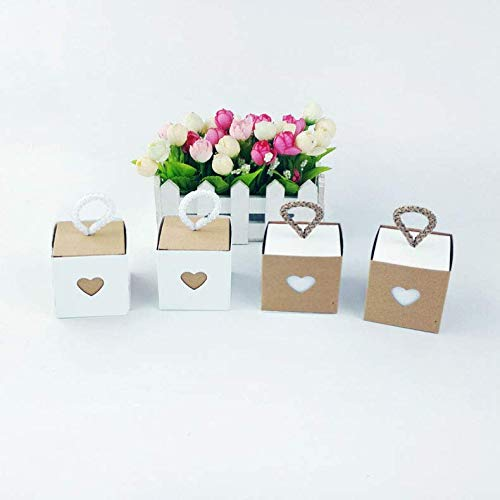 50pcs Candy Box with Heart Love Sweet for Wedding, Vintage Kraft Favor Box Candy Gift Bag for Travel Theme Party Wedding Birthday Bridal Shower(White)
