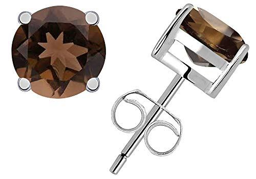 Sterling Silver Solitaire Round Brown Smoky Quartz Women's Stud Earrings 4mm 0.6 Carat TGW