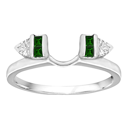 0.33 Created Emerald And Diamonds(G-H,I2-I3) Classic Bar Set Ring Wrap Enhancer in Silver (1/3 ct. twt.) by TwoBirch