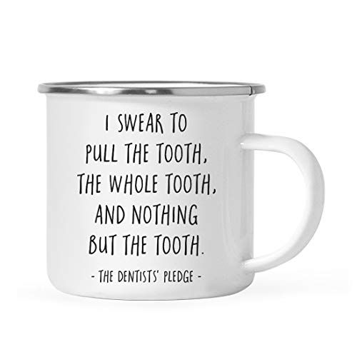 Andaz Press 11oz. Graduation Stainless Steel Campfire Coffee Mug Gift, I Swear to Pull The Tooth, The Whole Tooth, and Nothing But The Tooth. - The Dentists' Pledge, 1-Pack, Includes - Dentist Gifts