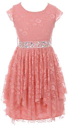 BNY Corner Big Girl Short Sleeve Floral Lace Ruffles Holiday Party Flower Girl Dress Rose 12 JKS 2095