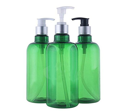 (3PCS 500ml/16.6OZ Empty Refillable PET Plastic Pump Bottles Jars with Pump Tops for Makeup Cosmetic Bath Shower Toiletries Liquid Containers Leak Proof Portable Travel Accessories(Green))