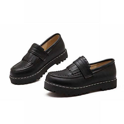 Flats Platform Women's Loafer Mee Chic Shoes Black Slip On OUnq0Aw