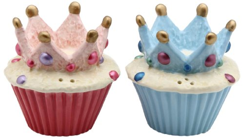 Appletree Design Crown Cupcake Salt and Pepper Set, (Crown And Pepper)