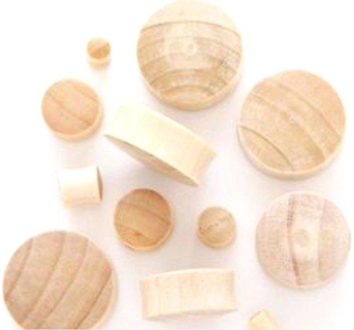 100% Handmade Organic Solid Blonde Crocodile Wood Ear Plugs - 8 gauge / 3.2mm