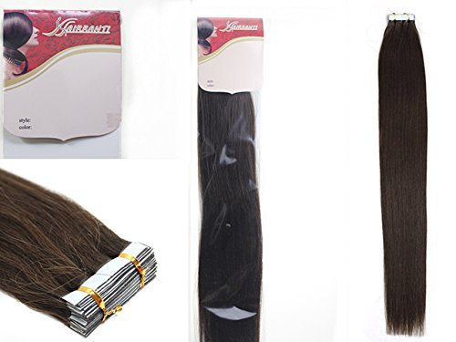 Cheap 18 Inch Color Long Color 02 Dark Brown Tape in Premium Remy Human Hair Extensions_20 Pcs Set 40g Weight Straight Women Beauty Salon Style Design