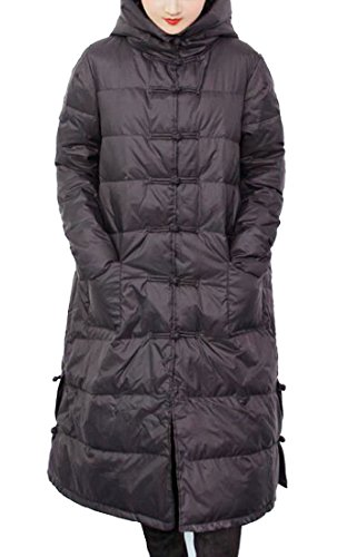 Button Jacket Frog Down Solid Womens today Color Hooded UK Black 7qXW1H