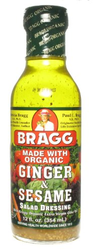Bragg Organic Ginger and Sesame Salad Dressing 12 Oz (Pack of 3)