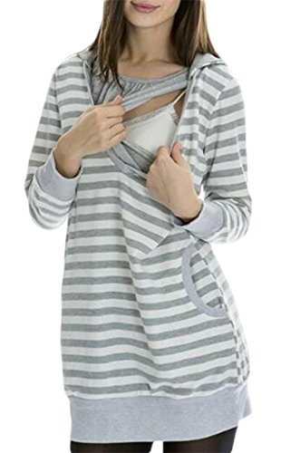 Women Long Sleeve Stripe Print Nursing Breastfeeding Sweatshirt Top size M (Gray)