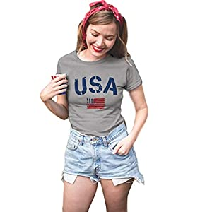 BLANCHES American Flag Tshirt for Women USA Flag Graphic Print Shirt Patriotic Casual Short Sleeve Tee Shirt