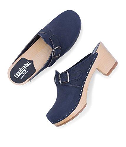 Nashville Sandgrens Wooden Clog Navy Swedish Women Mules High Heel wgAgn0xqvr